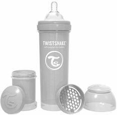 Twistshake dječja bočica Anti-Colic, 330ml (L), pastelno siva