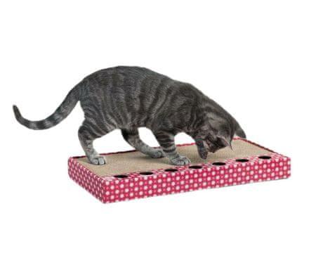 Trixie Karton do skrobania z zabawką 48 x 25 cm różowy,