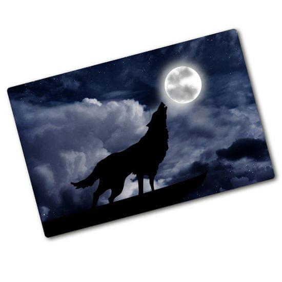 WALLMURALIA Kuchyňská deska skleněná Vlk úplněk 80x52 cm