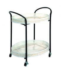 Mørtens Furniture Servírovací stolík Feril, 70 cm, béžová / čierna