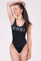 Nebbia Športové jednodielne plavky so sieťkou 674 Čierna S