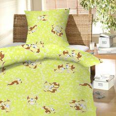Český textil Povlečení bavlna do postýlky Štěně zelené 90x130, 45x60 cm
