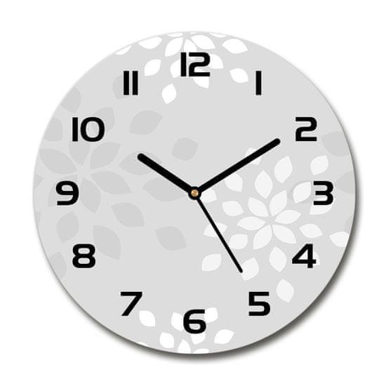 WALLMURALIA Sklenené hodiny okrúhle Kvetinový vzor 30x30 cm