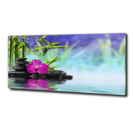 WALLMURALIA Moderné foto obraz na stenu Orchidea bambus 125x50 cm