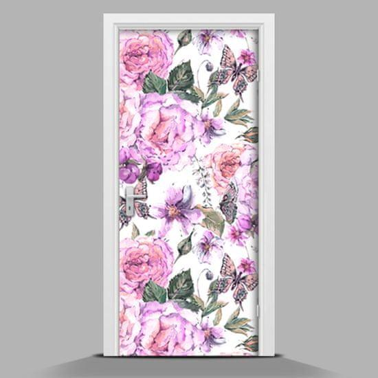 WALLMURALIA Samolepiace tapety na dvere Kvety a motýle 75x205