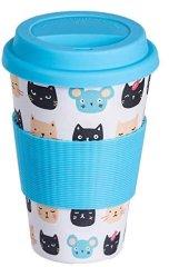 EcoBamboo Cestovný Termo hrnček ekologický 400ml - Cats