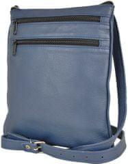 VegaLM Kožená crossbody taška na zipsové vrecká v modrej farbe