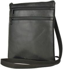 VegaLM Kožená crossbody taška na zipsové vrecká v čiernej farbe