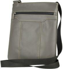 VegaLM Crossbody kožená taška na zips s dekoračným prešívaním v šedej farbe