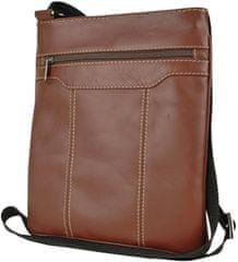 VegaLM Crossbody kožená taška na zips s dekoračným prešívaním v hnedej farbe