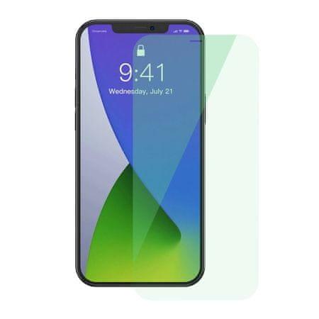 BASEUS 2x 0,15 mm Zaščita za oči Popolna prekritost z zeleno kaljeno stekleno folijo s filtrom proti modri svetlobi za iPhone 12 mini (SGAPIPH54N-LP02)