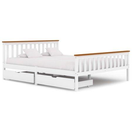 shumee 2 fiókos fehér tömör fenyőfa ágykeret 160 x 200 cm