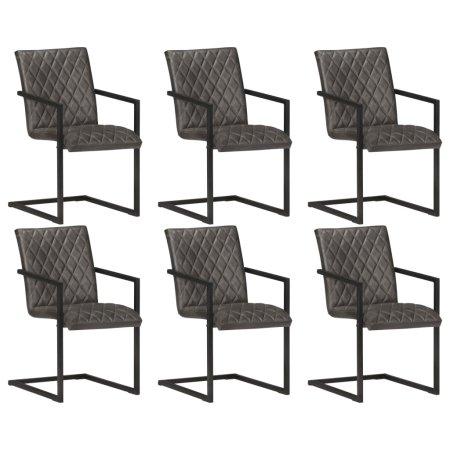 shumee Krzesła stołowe, wspornikowe, 6 szt., szare, skóra naturalna