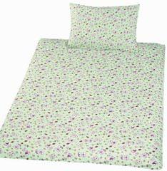 Český textil Povlečení bavlna do postýlky Méďa krmítko zelená 90x130, 45x60 cm