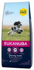 Eukanuba suha hrana za štence Puppy & Junior Medium Breed 15 kg + 3 kg gratis