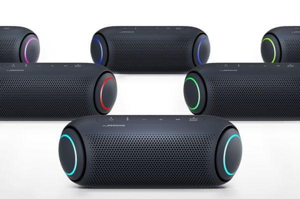 głośnik Bluetooth lg pl5 18h żywotności wejście aux in siri google assistant sterowanie głosowe certyfikat ipx5 wykonywanie połączeń handsfree moc muzyczna 20 w parowanie z 99 dalszymi głośnikami lg sterowanie mobilne za pomocą aplikacji oświetlenie za pomocą diod led dźwięk klasy premium od brytyjskiej firmy meridian wodoodporność wg normy ipx5 gumowy korpus