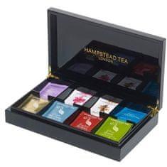 Hampstead Tea London luxusná čierna drevená kazeta mix BIO sáčkových čajov 80ks 8 druhov