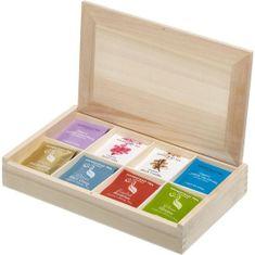 Hampstead Tea London luxusná prírodná drevená kazeta mix BIO sáčkových čajov 80ks 8 druhov