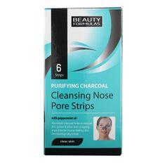 Beauty Formulas Orrtisztító szalagok aktív szénnel Charcoal (Cleansing Nose Pore Strips) 6 db