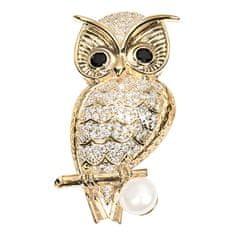JwL Luxury Pearls Pozlátená brošňa sova s pravou perlou a kryštály JL0509