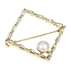 JwL Luxury Pearls Błyszcząca złocona broszka z prawdziwą perłą JL0520