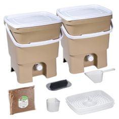 Skaza Bokashi Organko set kompostera 2x16l + posip, smeđa bež
