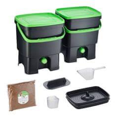 Skaza Set kompostera Bokashi Organko, 2 x 16 l, crno-zeleni + posip 1 kg