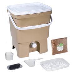 Skaza Bokashi Organko komposter 16l + posip 1kg, smeđe bež