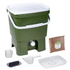 Skaza Bokashi Organko komposter 16l + posip 1kg, maslinasto zeleni