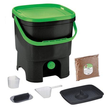 Skaza Bokashi Organko kompostnik, 16 l, črno-zelen + posip 1 kg
