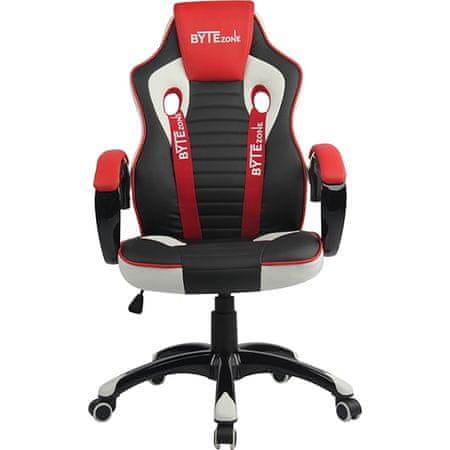 Bytezone Racer Pro gamerski stol, črn, siv, rdeč