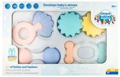 Canpol babies Prvá súprava hrkálok s hryzadlami Pastel