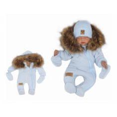 Z&Z Z &: Z Zimná kombinéza s kapucňou a kožušinou + rukavičky, modrá