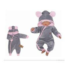 Z&Z Z&:Z Velúrový dojčenský overal s kapucňou a uškami - šedo,růžový