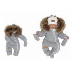 Z&Z Z &: Z Zimná kombinéza s kapucňou a kožušinou + rukavičky, sivá, veľ. 68