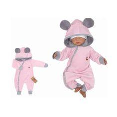 Z&Z Z&:Z Velúrový dojčenský overal s kapucňou a uškami - růžovo,šedý