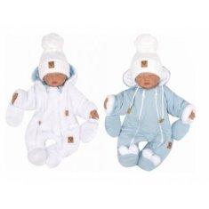 Z&Z Z &: Z Zimná obojstranná kombinéza s kapucňou + rukavičky, modro-biela, veľ. 62