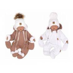 Z&Z Z &: Z Zimná obojstranná kombinéza s kapucňou + rukavičky, hnedo-biela, vel. 74