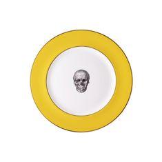 Alexander & Marcus Keramický tanier, motív lebka - žltá, zn. Melody Rose London