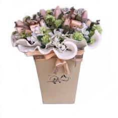 RK Dekorace Jarní květinový box L- béžová barevnost, z tulipánů, hortenzií a chryzantém