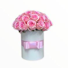 RK Dekorace Květinový box LUXURY z růžových růží 38 cm