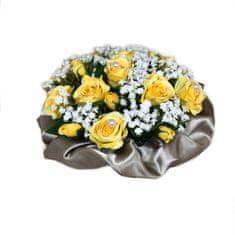 RK Dekorace Květinový nízký velurový box ze žlutých mini růží 13 cm