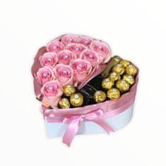 RK Dekorace Dárkový box ve tvaru srdce růžové velké 28x29 cm