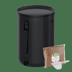 Skaza Komposter Bokashi Organko 2 Ocean, 9,6 l, crni + posip, 1 kg