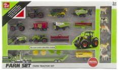 Teddies Poľnohospodárske stroje so zvieratkami súprava farma 22 ks