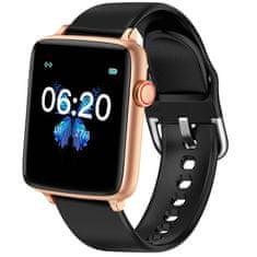 Printwell Chytré hodinky v češtině PW-101, Bluetooth 5.0, smart watch s velkým display, krokoměrem, oxymetrem, měřením tepu, tlaku, zlaté s černým páskem