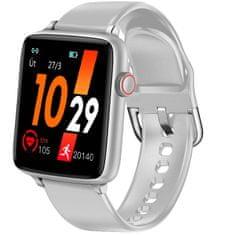 Printwell Chytré hodinky v češtině PW-101, Bluetooth 5.0, smart watch s velkým display, krokoměrem, oxymetrem, měřením tepu, tlaku, stříbrné s šedým páskem