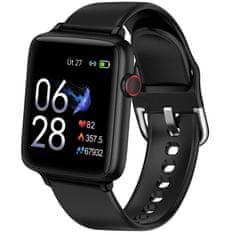 Printwell Chytré hodinky v češtině PW-101, Bluetooth 5.0, smart watch s velkým display, krokoměrem, oxymetrem, měřením tepu, tlaku, černé s černým páskem