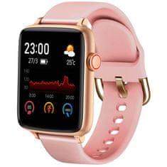 Printwell Chytré hodinky v češtině PW-101, Bluetooth 5.0, smart watch s velkým display, krokoměrem, oxymetrem, měřením tepu, tlaku, zlaté s růžovým páskem