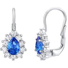 Silvego Stříbrné náušnice s modrými Swarovski® zirkony SILVEGO31866M